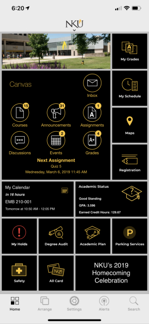 The new NKU app features a new grid-based layout that can be customized to your liking.