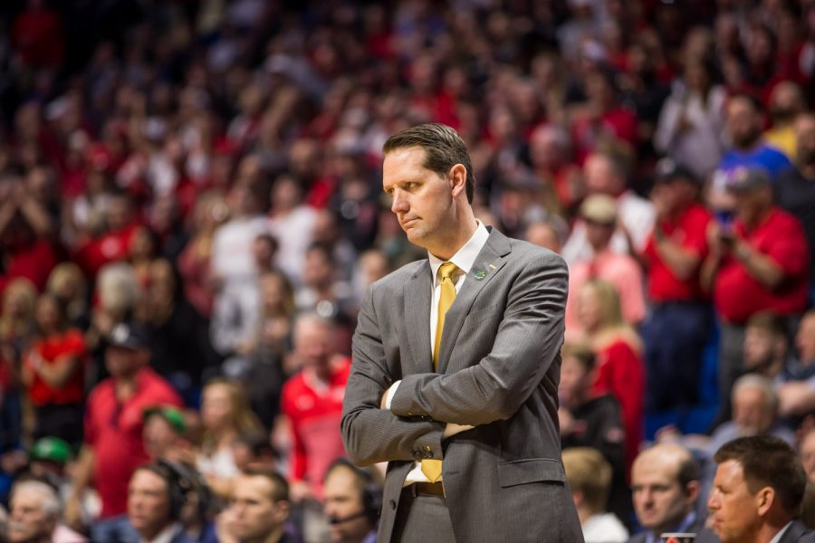 Men's Basketball Head Coach John Brannen reacts during the game against Texas Tech. The Norse fell to Texas Tech 72-57 in the first round of the NCAA Tournament.