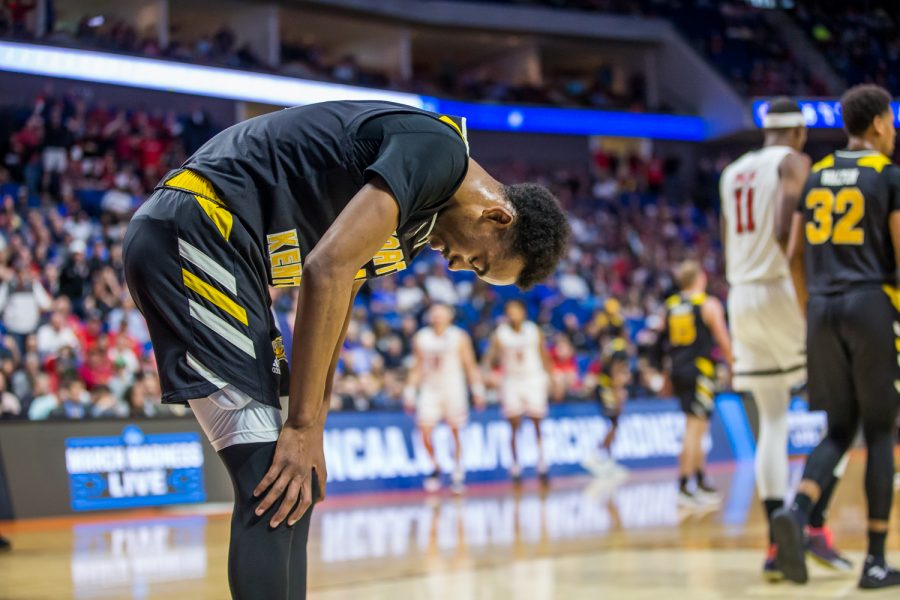 Jalen Tate (11) reacts during the game against Texas Tech in Tulsa, Oklahoma.  The Norse fell to Texas Tech 72-57 in the first round of the NCAA Tournament.