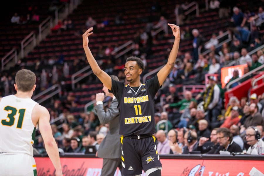 Jalen Tate (11) reacts during the final seconds of the final game of the Horizon League Tournament against Wright State. NKU defeated Wright State 77-66.