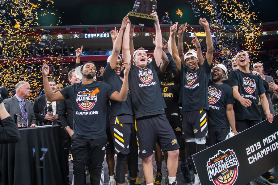 NKU+players+reacts+after+receiving+the+Horizon+League+Tournament+Trophy.+The+Norse+defeated+Wright+State+77-66.