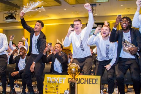 NKU Basketball Players cheer after the announcement of them recieving the 14th seed in the West region of the NCAA Tournament. The Norse will face No. 3 Texas Tech in the opening round.