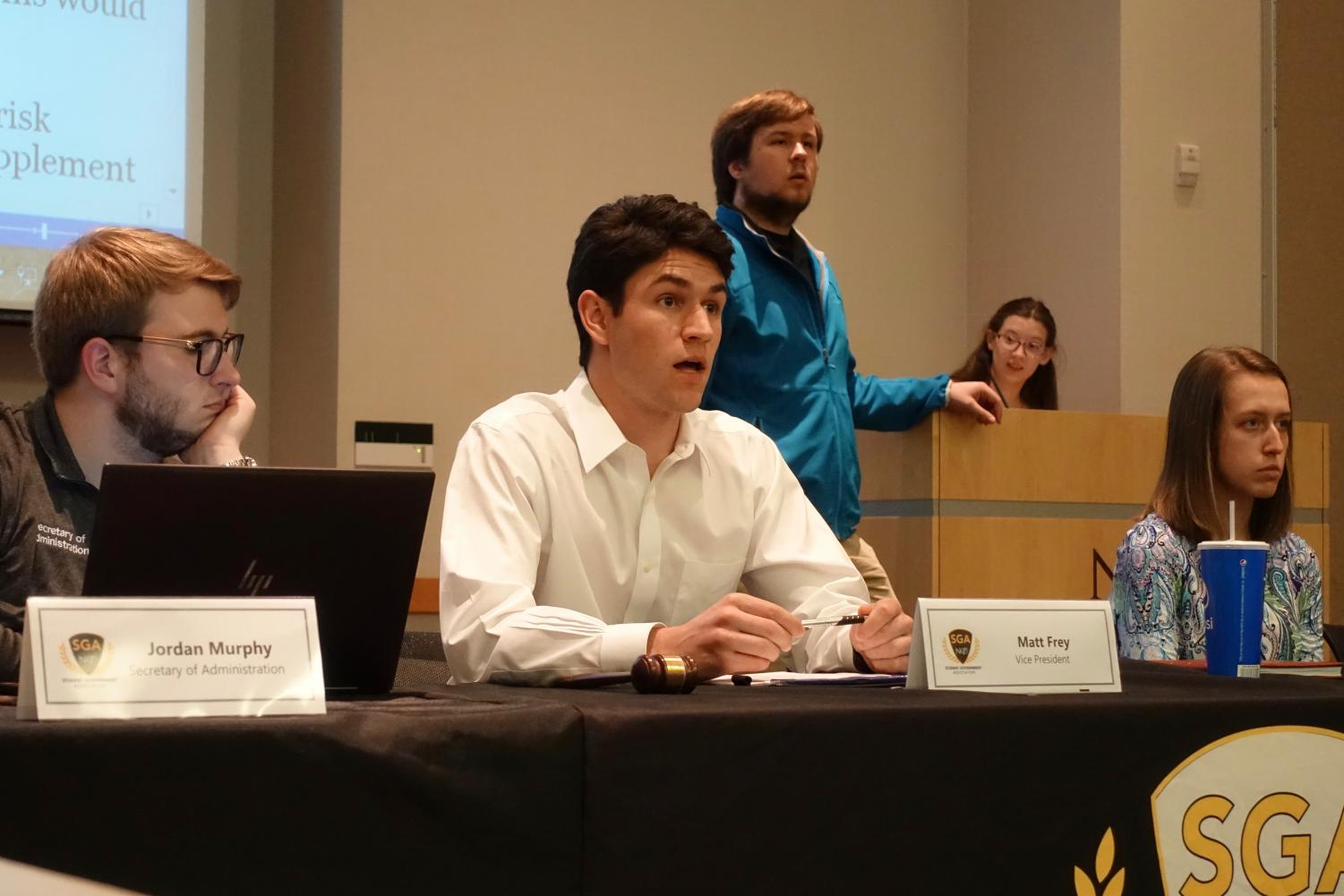Student Government Vice President Matt Frey addresses senators on April 8, 2019.