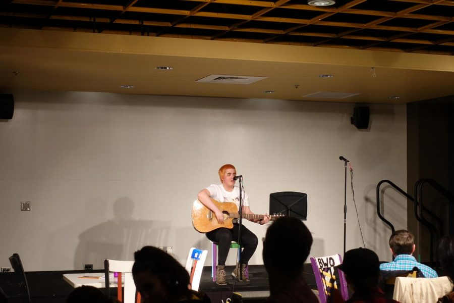 A+student+shares+an+original+song+at+the+6th+annual+Open+Mic+Night.