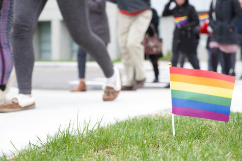 Students walk through NKU's campus to celebrate Pride Week.
