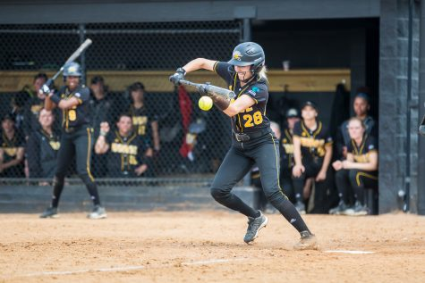 Josie Frazier gets a hit during the game against Youngstown State University.
