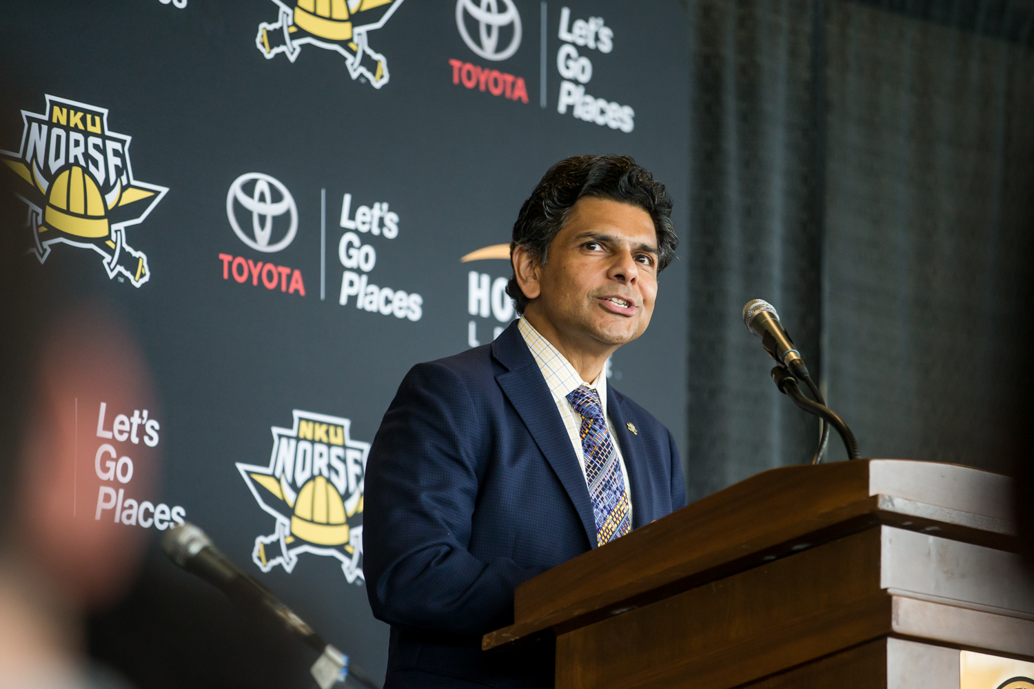 NKU+President+Ashish+Vaidya+gives+his+remarks+during+the+press+conference+for+the+welcoming+of+the+new+Men%27s+Basketball+Head+Coach+Darrin+Horn.