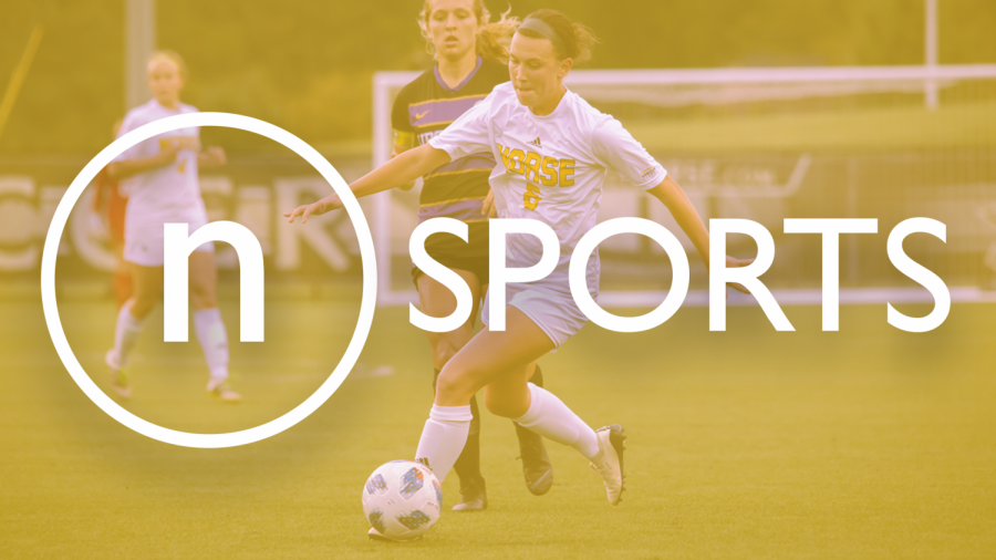 Stock image of NKU Women's Soccer player with northerner logo and
