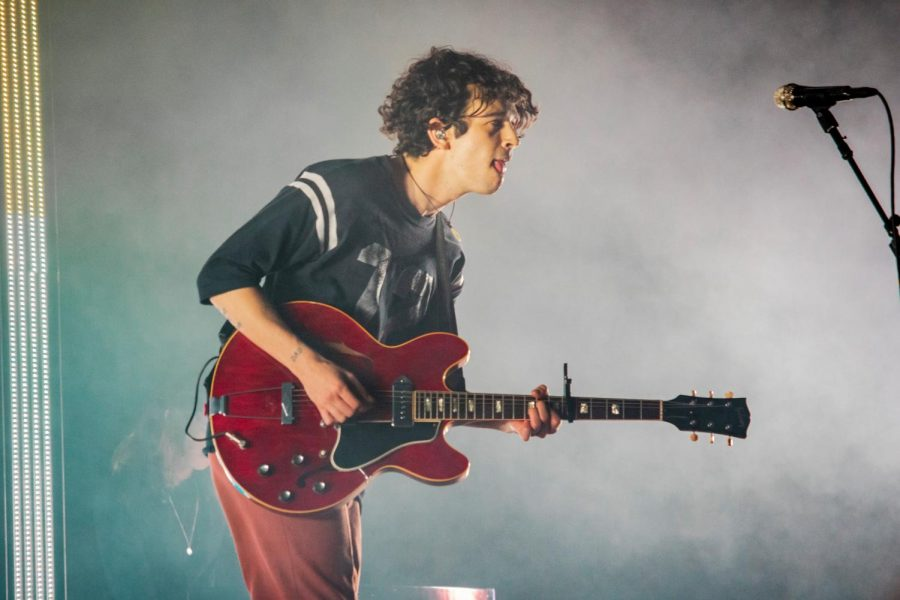 The 1975's Matty Healy playing guitar to the audience of Bunbury Music Festival.