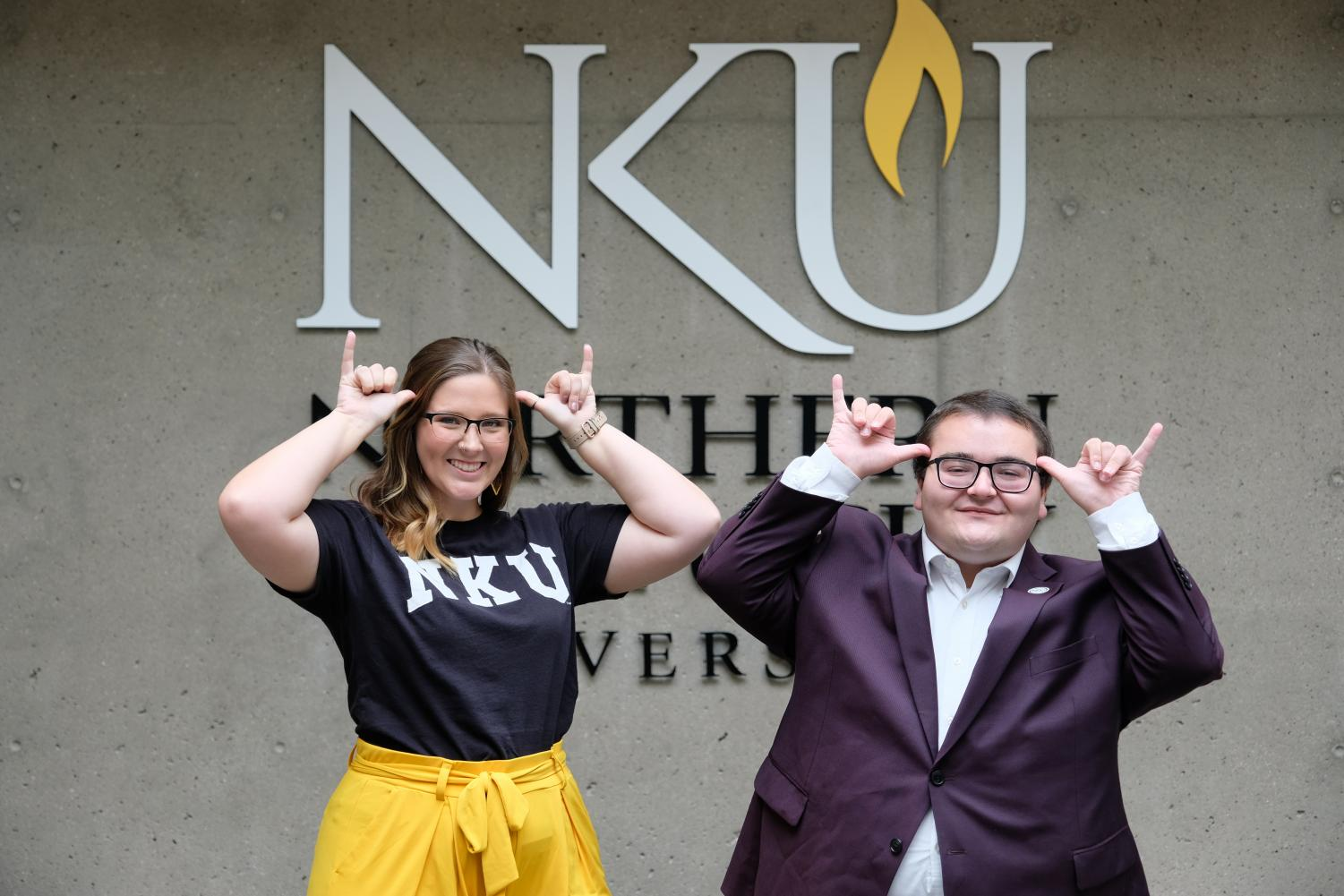 SGA President Jarett Lopez and Vice President Shelby Sanford Norse Up.