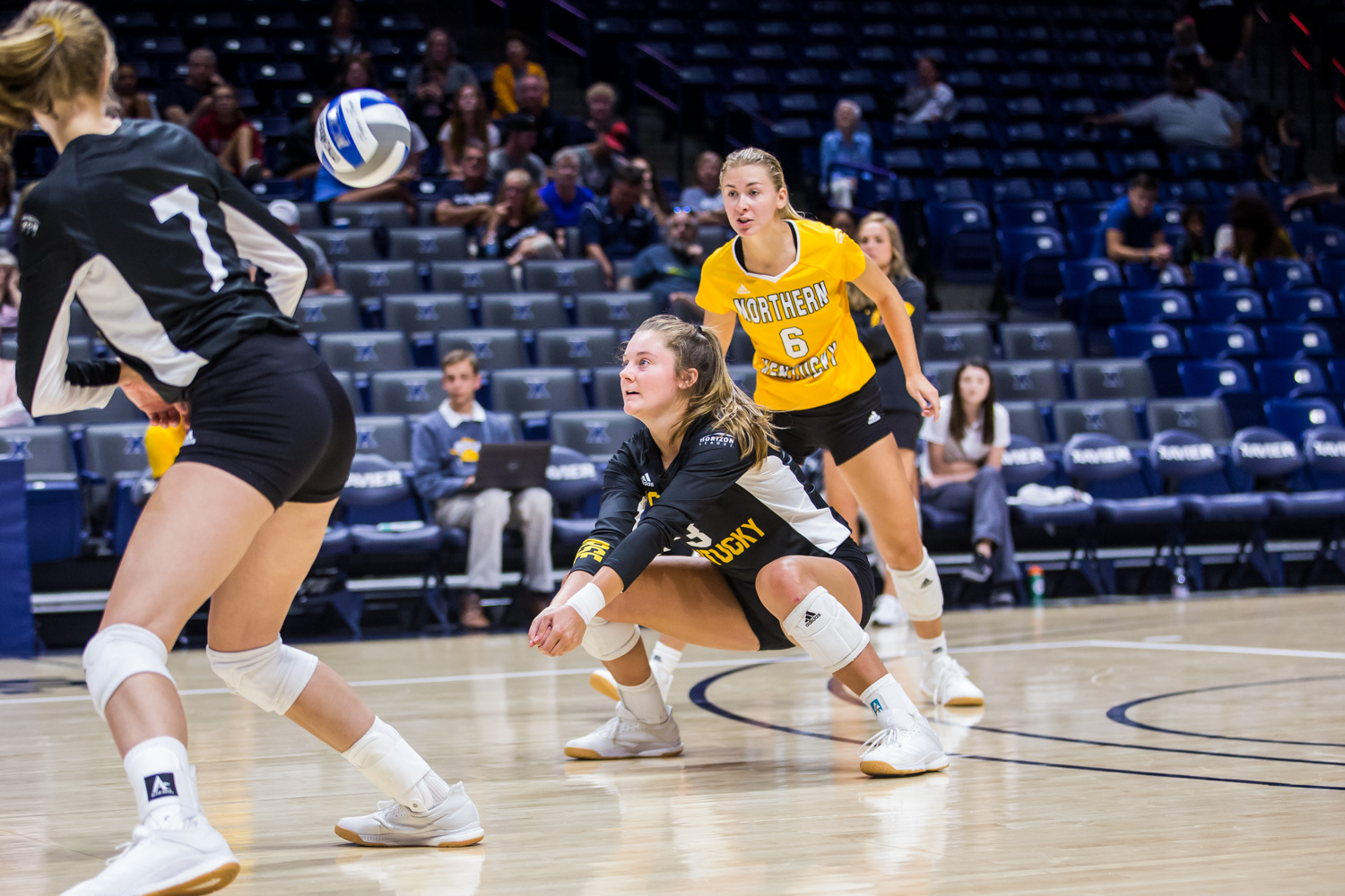 Anna+Brinkmann+%283%29+goes+down+for+a+hit+during+the+game+against+Xavier.+The+Norse+defeated+the+Musketeers+taking+3+of+4+sets.