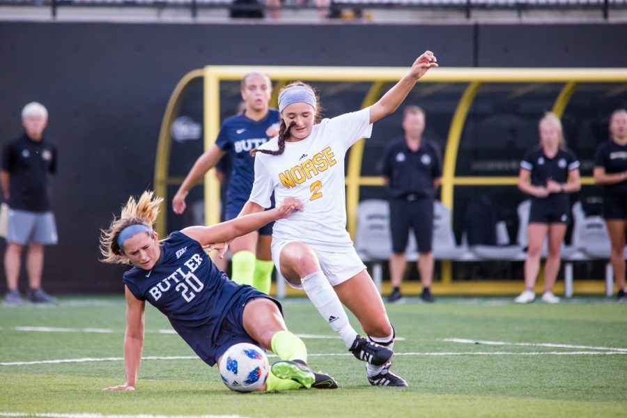 Kiley Keehann (2)  fights for control of a ball during the game against Butler. The Norse fell to Butler 2-1.