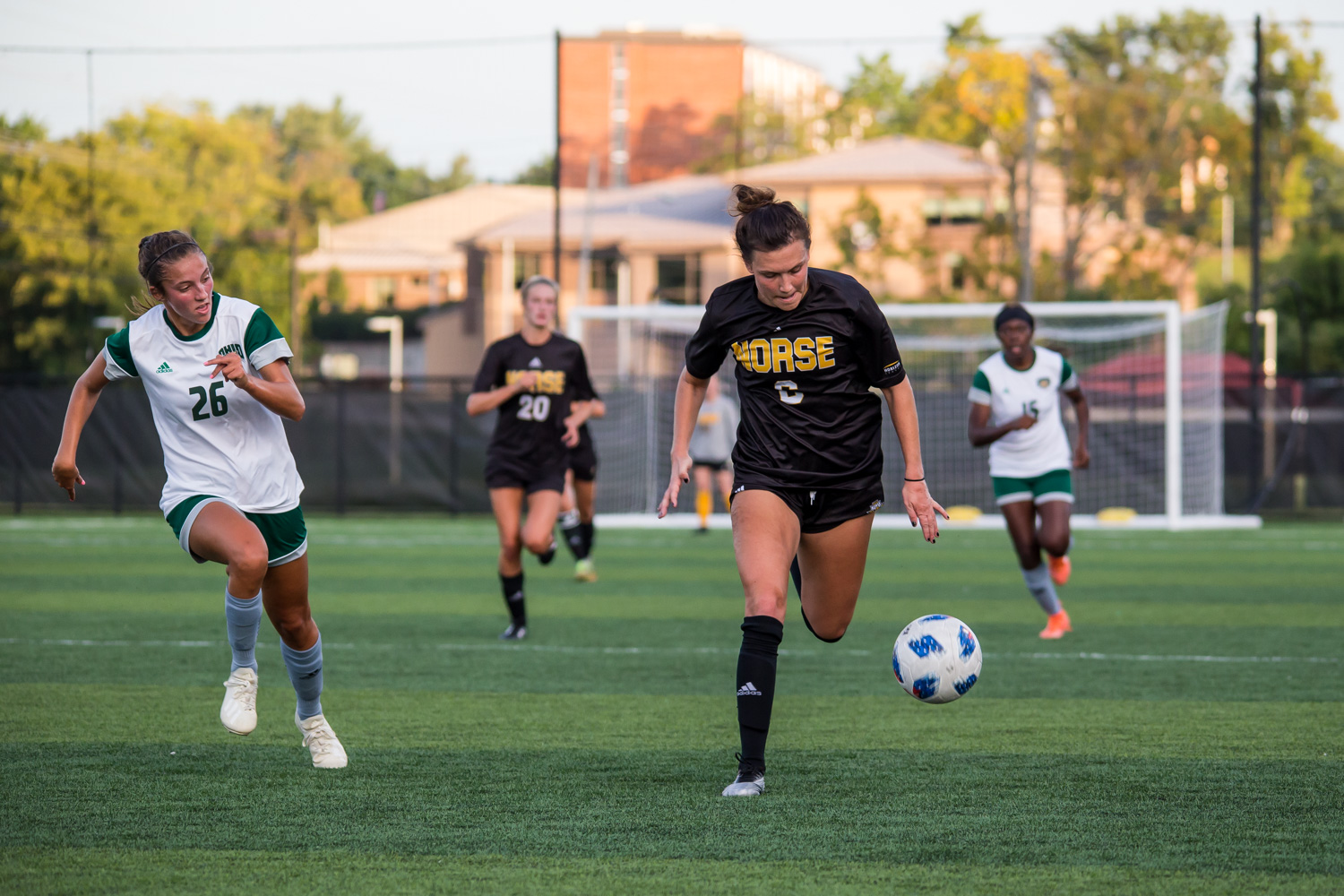 Ally+Perkins+%286%29+drives+toward+the+goal+during+the+game+against+Ohio+University.+The+Norse+fell+to+the+Bobcats+during+the+game+on+Sunday+night.