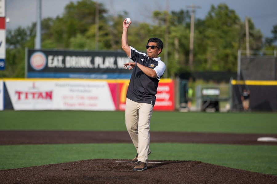 NKU President Ashish Vaidya throws out a first pitch at the Florence Freedom baseball game prior to the game on NKU Night.