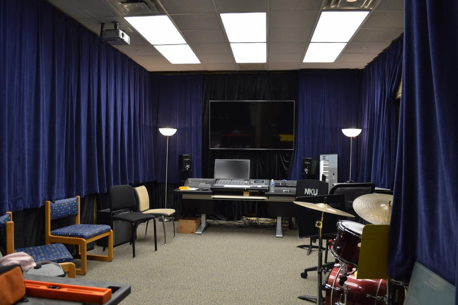 Full length image of the studio control room.
