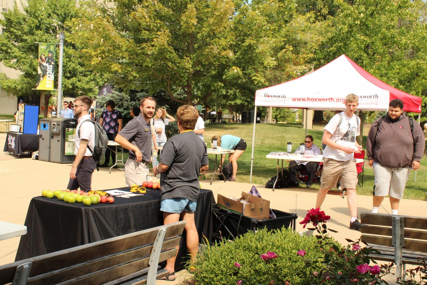 Students walk through the plaza during Fall Fest.