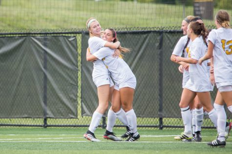 Kailey Ivins (15) celebrates with Kayla Wypasek (23) after her goal during the game against Murray State. Wypasek had 1 goal on the game.
