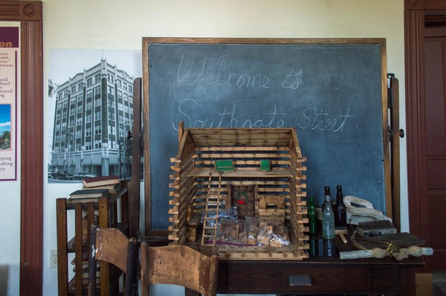Inside the exhibit at the Southgate Street School.