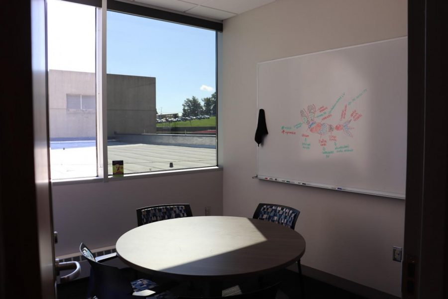 One of the six group study rooms.