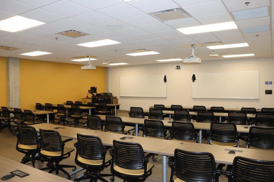 One of the interactive classrooms where students will have the chance to learn from professors virtually, equipped with microphones on the tables that allow students to speak to their professor directly.