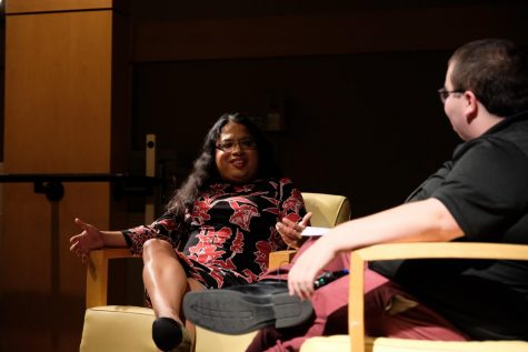 Former White House liaison Raffi Freedman-Gurspan and student body president Jarett Lopez spoke to students in the Otto M. Budig Theater on Wednesday night.