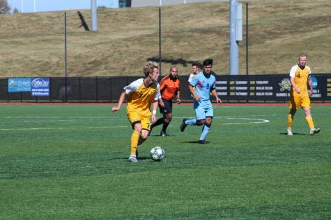 Men's Soccer: Alex Greive scored a hat trick in win over UIC