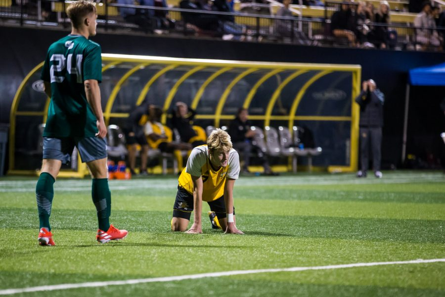 Alex Greive (7) reacts as the final seconds tick off the clock in the game against Green Bay. The Norse fell to Green Bay with a score of 3-2.