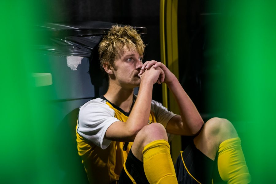 Alex Greive (7) reacts on the sideline moments after the game against Green Bay. Greive had 6 shots on the game and 1 goal. The Norse fell to Green Bay 3-2 on Saturday night.
