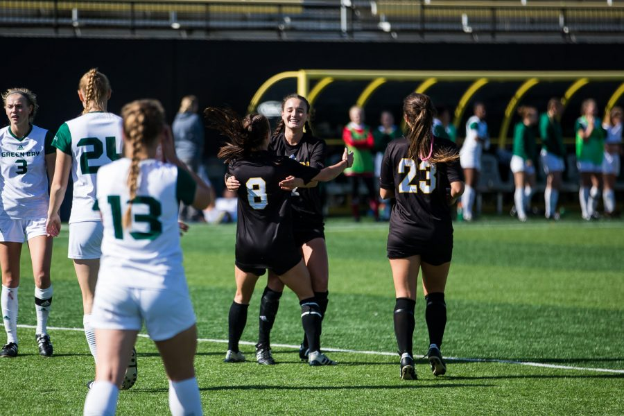 NKU players celebrate after a goal by Shawna Zaken (8) during the game against Green Bay. The Norse defeated Green Bay 5-1 during the game on Sunday afternoon.