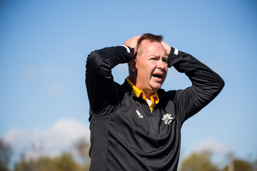 Womens Soccer Head Coach Bob Sheehan reacts after a call on the field during the game against Green Bay. The Norse defeated Green Bay 5-1 on Sunday Afternoon.