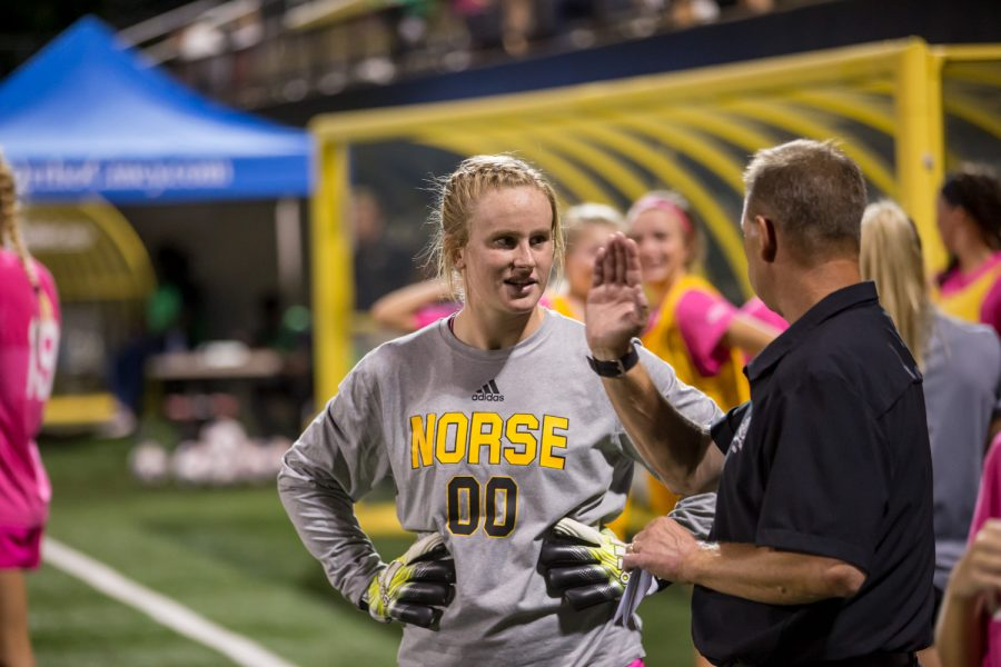 FILE: Women's Soccer Head Coach Bob Sheehan talks to Mimi Stines (00) before the start of the second half during the game against Wright State. The Norse fell to the Raiders 3-1 on the night.