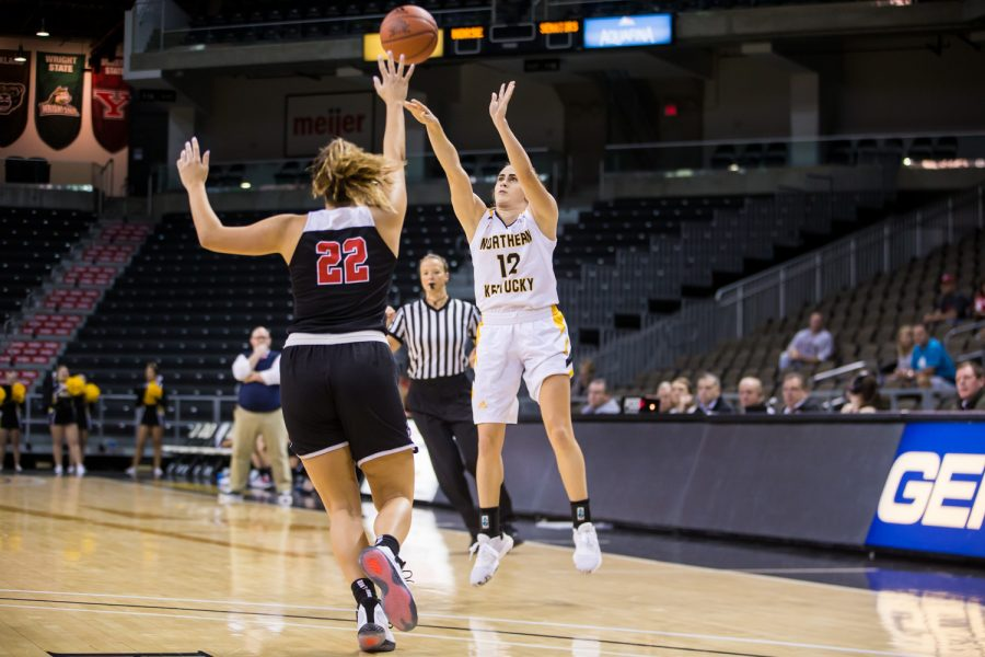 Carissa Garcia (12)  shoots a three point shot during the game against Davis & Elkins College. Garcia shot 1-of-7 from three and had 16 points on the night.