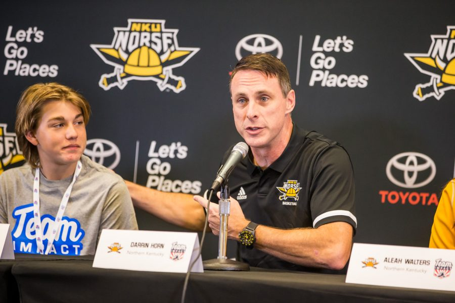Coah Horn says a few words about Elijah Walters, NKU mens basketball teams newest Team IMPACT player.
