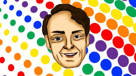 An illustration of LGBTQ icon Harvey Milk.