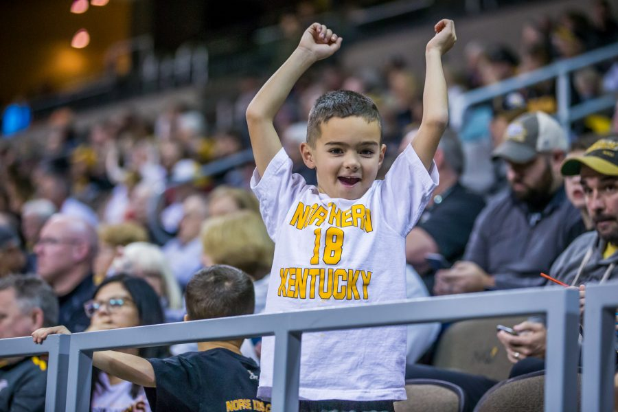 An NKU fan cheers during the game against Coppin State on Sunday Afternoon. The Norse defeated Coppin State 82-70.