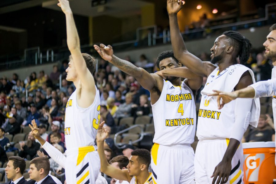 NKU players reacts after a point during the game against UC Clermont. The Norse defeated UC Clermont 55-105 on Tuesday night.