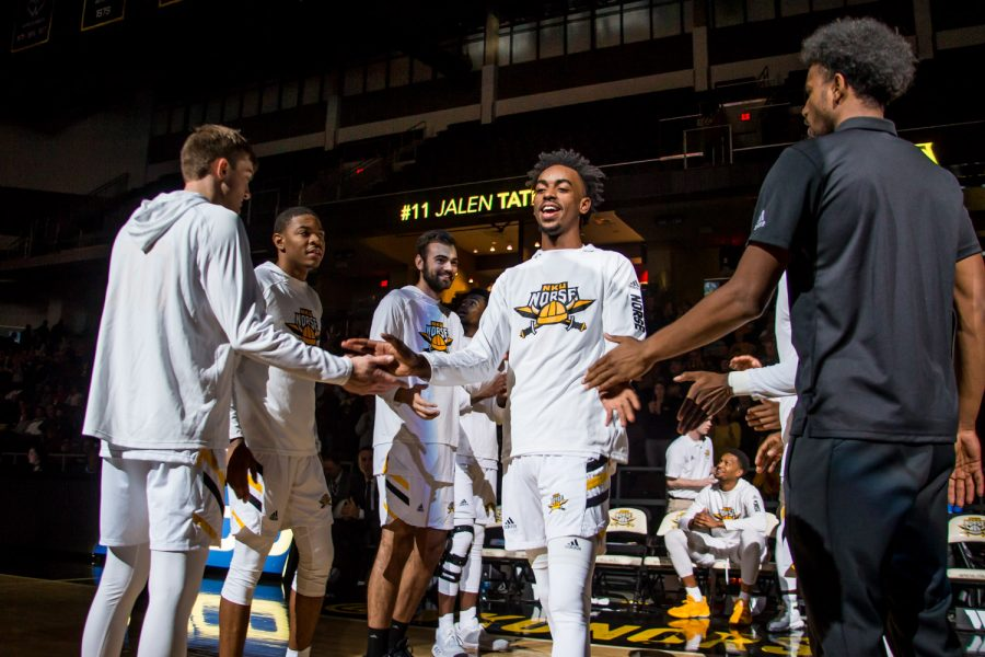 Jalen+Tate+%2811%29+is+introduced+before+the+game+against+UC+Clermont.+The+Norse+defeated+UC+Clermont+55-105.