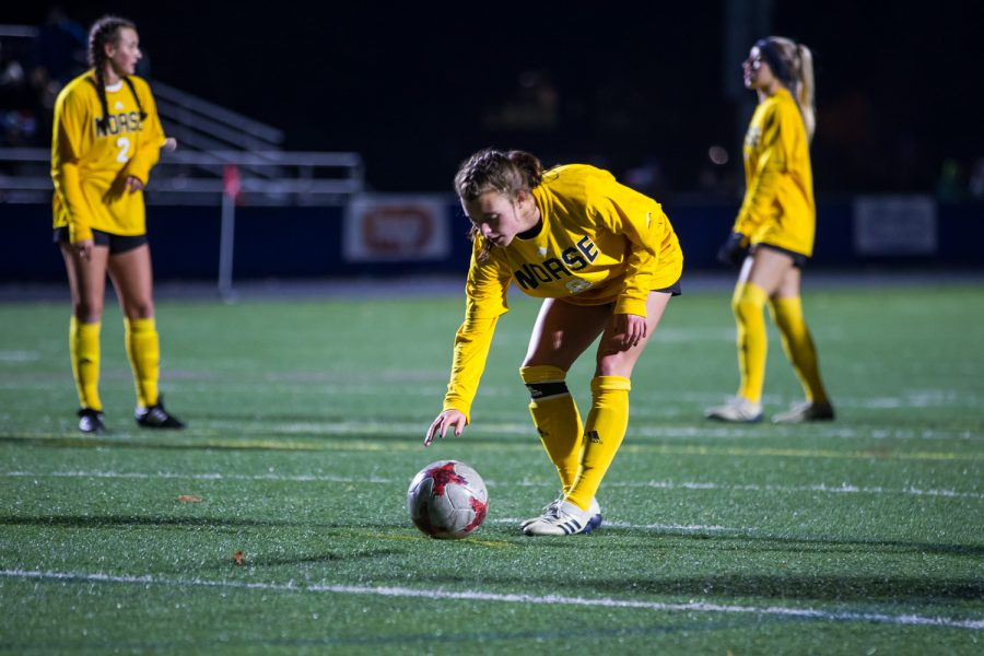 Shawna Zaken (8) places the ball before a penalty kick in the second half of the game against Detroit Mercy in Detroit. The Norse defeated Detroit Mercy 2-0.