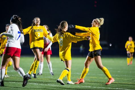 NKU players celebrate after a goal by Shawna Zaken (8) off of a penalty kick During the game against Detroit Mercy in Detroit. The Norse defeated Detroit Mercy 2-0 on the night, which ensures them a spot in the upcoming Horizon League Tournament.