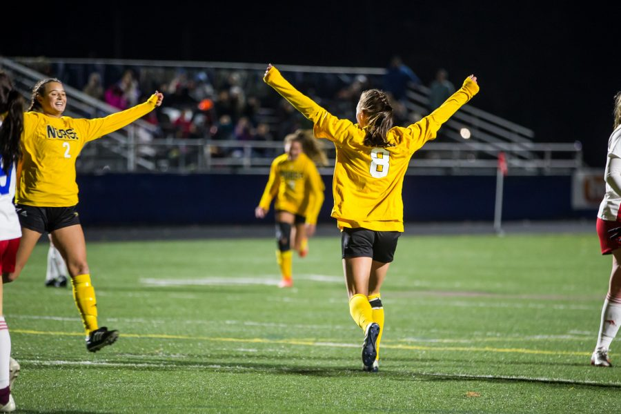 Shawna Zaken (8) celebrates after a goal during the game against Detroit Mercy in Detroit on Friday Night. The Norse won over Detroit Mercy, which locks in their spot in the Horizon League Tournament