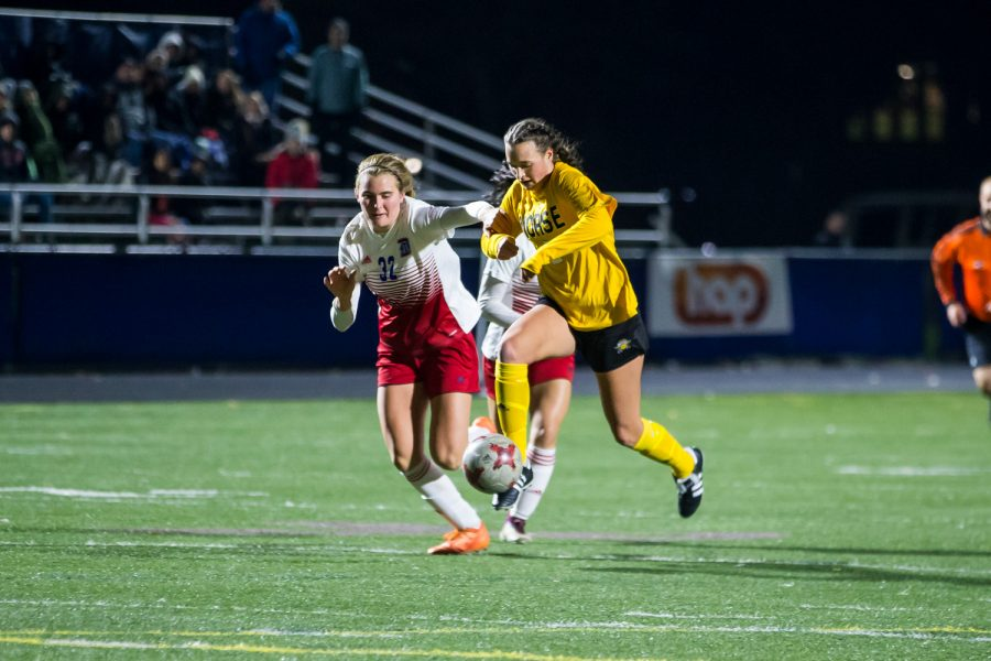 Kiley Keehan (2) fights to get past a Detroit defender during the game against Detroit Mercy in Detroit on Friday Night. The Norse Defeated Detroit Mercy 2-0 on the night.