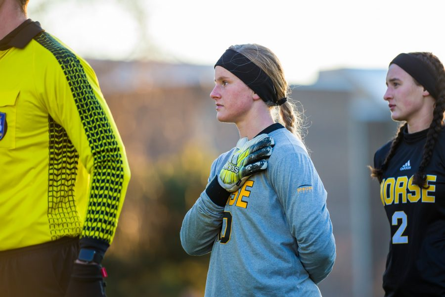 Mimi Stines (0) stands during the National Anthem before the start of the Semi-Final game of the Horizon League Tournament. Stines was credited with 11 saves on the game as the Norse fell to UIC 1-0.
