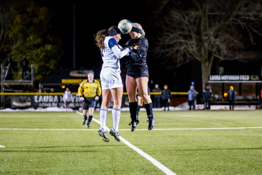 Ashleigh Cronin (5) goes up for head ball during the semifinal game of the Horizon League Tournament against UIC. The Norse fell to UIC 1-0 in double overtime.