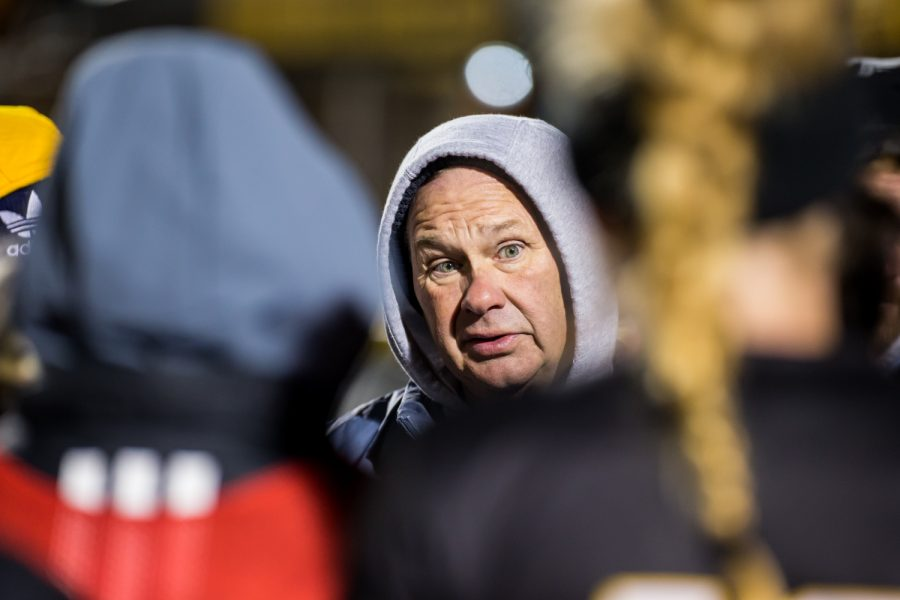 Womens Soccer Head Coach Bob Sheehan talks to the players before the start of the second overtime period during the semifinal game of the Horizon League Tournament against UIC. The Norse fell to UIC 1-0 in double overtime.