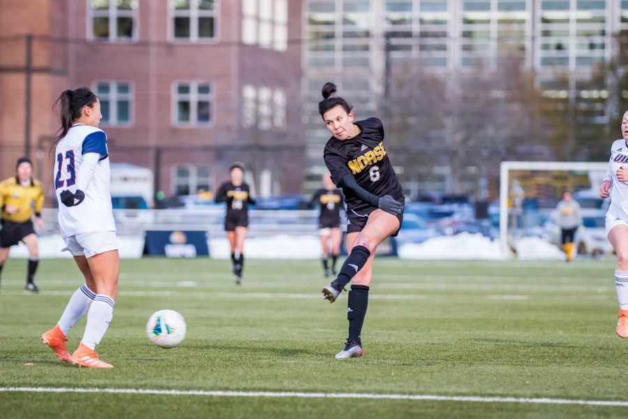 Ally Perkins (6) takes a shot on goal during the semifinal game of the Horizon League Tournament against UIC. The Norse fell to UIC 1-0 in double overtime.