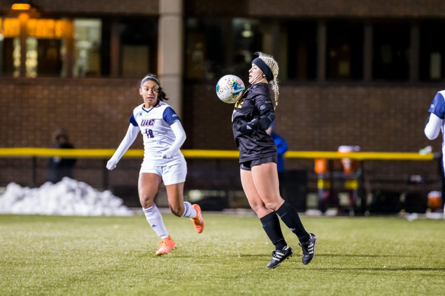 Ashleigh Cronin (5) brings down a ball in the air during the semifinal game of the Horizon League Tournament against UIC. The Norse fell to UIC 1-0 in double overtime.