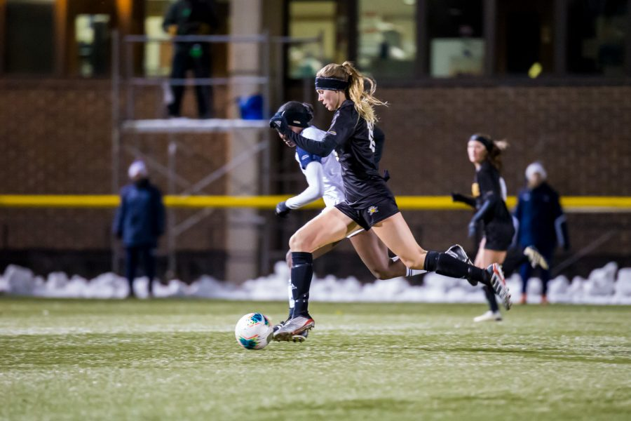 Kailey Ivins (15) fights toward the UIC goal during the semifinal game of the Horizon League Tournament against UIC. The Norse fell to UIC 1-0 in double overtime.