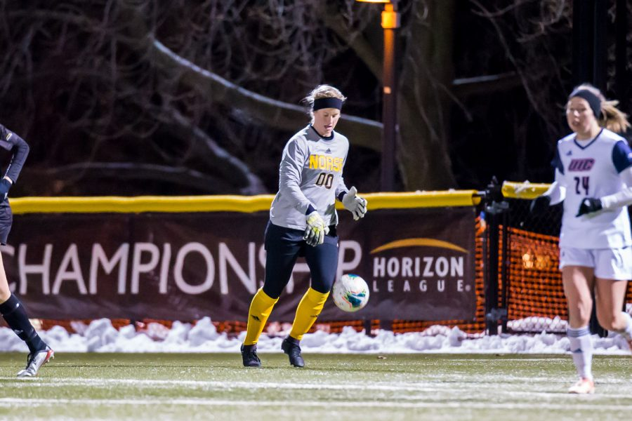 Mimi Stines bounces the ball after a save during the semifinal game of the Horizon League Tournament against UIC. The Norse fell to UIC 1-0 in double overtime.