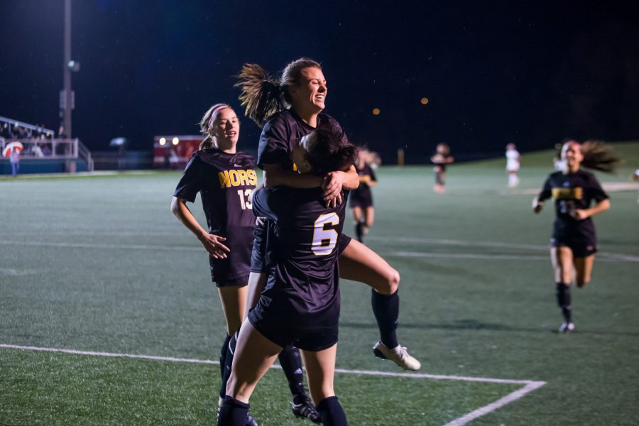 Shawna Zaken (8) reacts after scoring a goal during the quarter final game of the Horizon League Tournament Against Wright State. The Norse defeated Wright State 3-1 and will advance to the Semi-Final game in Milwaukee.
