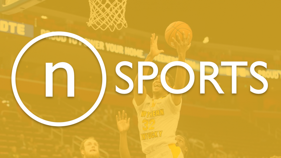 Stock image of Dantez Walton going for a layup. In the foreground of the image is The Northerner logo followed by sports.